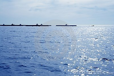 Fish farm view in blue mediterranean sea