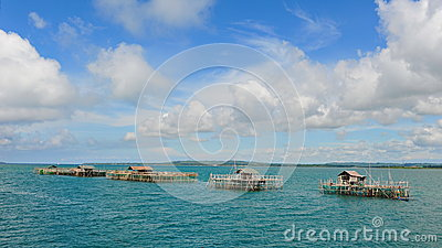 Fish farms on stilts in Cebu seas