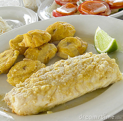 Fish fillet tostones Corn Island Nicarauga