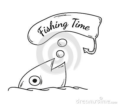 Fish and fishing time stock vector image 41308221 for Fishing times free