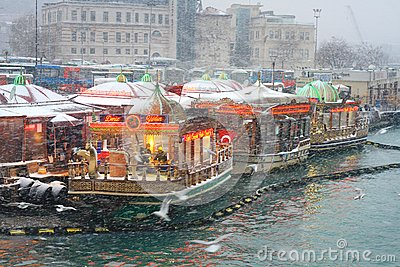 Fish Food Boats in Winter Editorial Stock Image