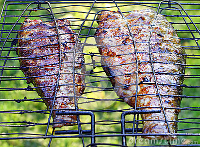 Fish on the grill.