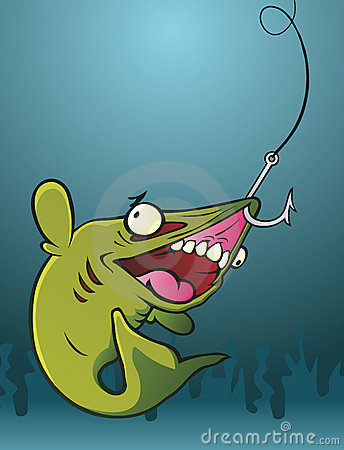 Fish On A Hook Royalty Free Stock Photos - Image: 22322478