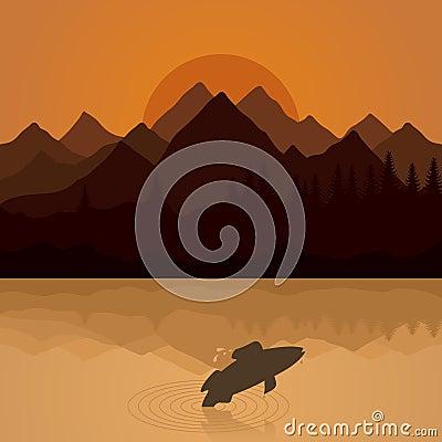 Fish on lake