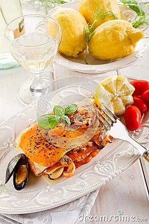 Fish lasagne