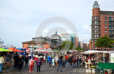 Fish market in Hamburg Editorial Stock Image