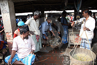 Fish market in Kumrokhali Editorial Stock Image