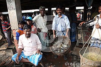 Fish market in Kumrokhali Editorial Stock Image