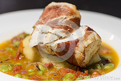 Fish monkfish with vegetables stock photo image 50108725 for Monkfish and parma ham recipe