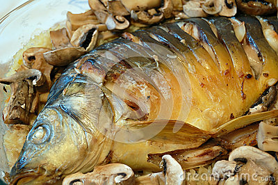 carp fish and mushrooms