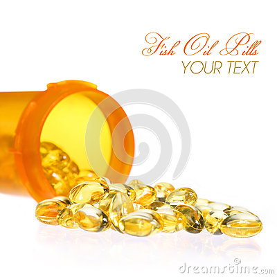 Fish Oil Capsules with Pills Bottle isolated. Omega-3 o