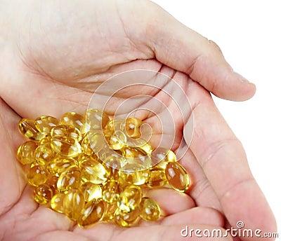 Fish oil in hands