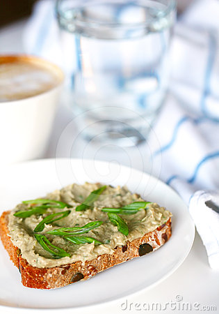 Free Fish Pâté With Scallions On Whole Grain Bread Stock Image - 24532681