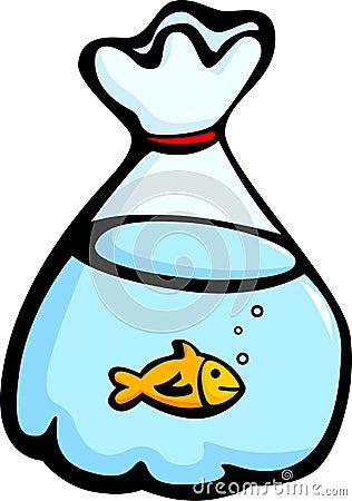 fish in a plastic bag vector illustration