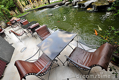 Fish pond and chair