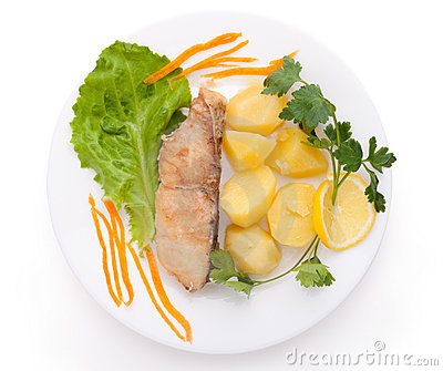 Fish and potatoes served