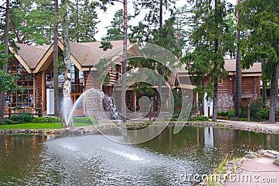 Fish restauran with pond
