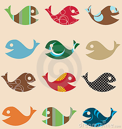 Fish retro seamless pattern