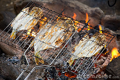 Fish roasting on fire
