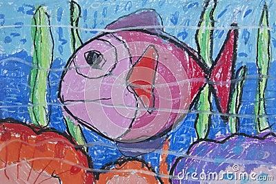 Fish sea as free hand drawing