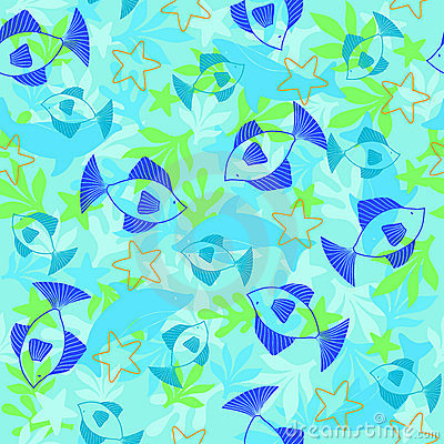 Fish Seamless Repeat Pattern Vector