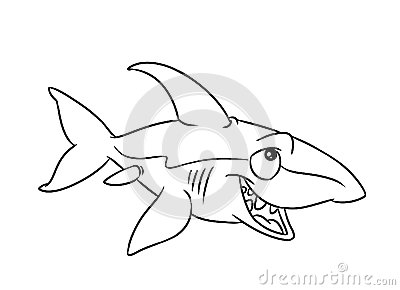 Fish Shark Illustration Coloring Pages Stock Image Image