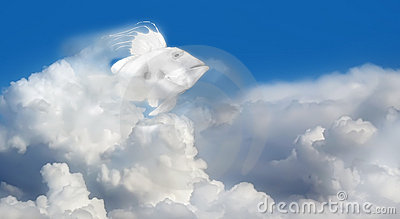 Fish in sky with cloudscape