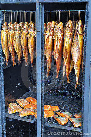 Fish in a smoker