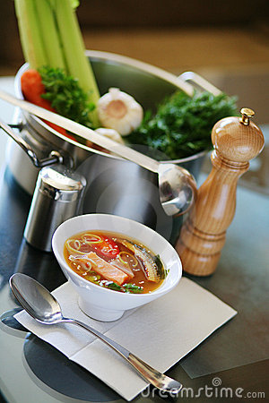 Fish soup on kitchen