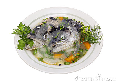 Fish soup from salmon heads