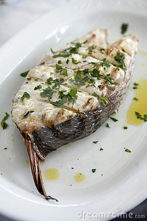 Fish steak grilled on the barbecue with herbs