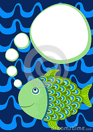 Fish with thought bubble greeting card