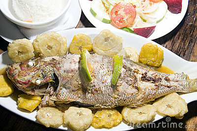 Fish tostones rice salad big corn island nicaragua