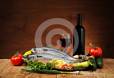 Fish with vegetables and wine