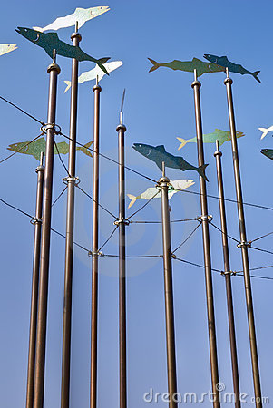 Fish wind sculptures