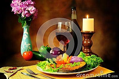 Fish and wine still life