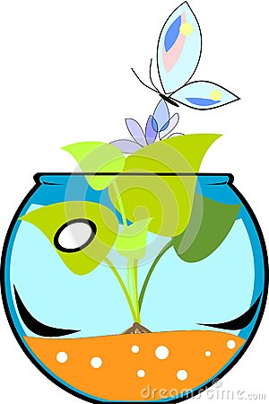 Fishbowl with flower