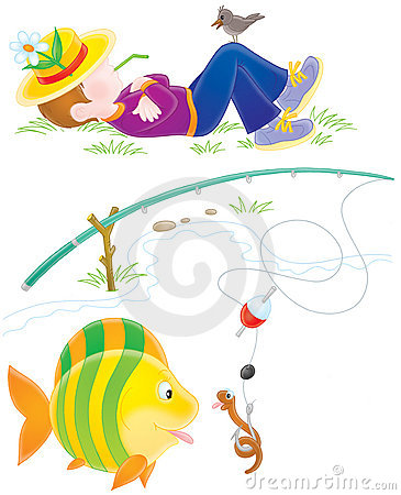 Free Fisher, Fish And Worm Royalty Free Stock Image - 17629196