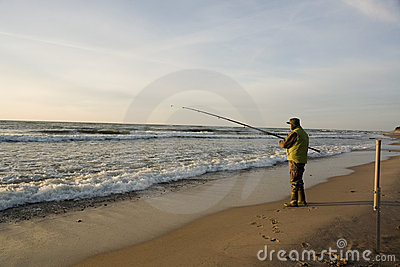 Fisherman on beach