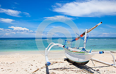 Fisherman boat on beach  Gili island,  Indonesia