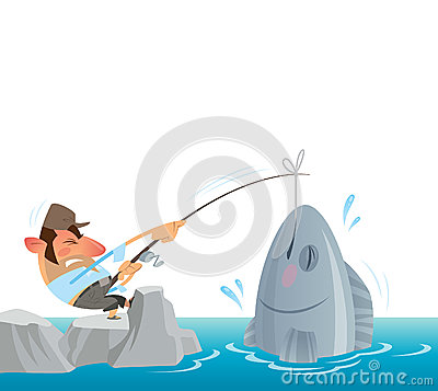 Fisherman Catching And Pulling Out Of The Sea A Big Fish Cartoon