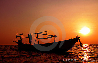 Fisherman coming home Sihanoukville Cambodia