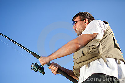 Fisherman enjoying his hobby