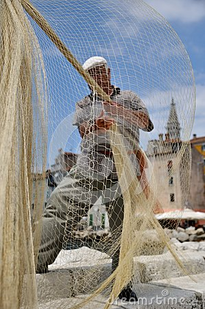 Fisherman and a fishing net