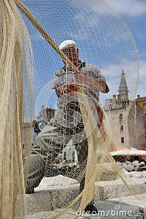 Fisherman and a fishing net