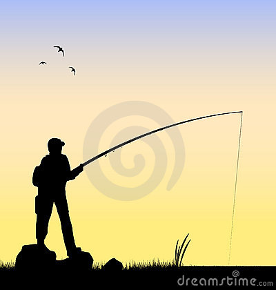 Fisherman fishing in a river vector