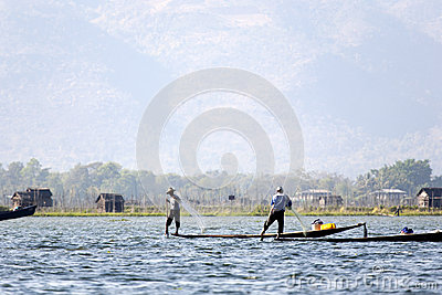 Fishermen at Inle Lake Editorial Photo
