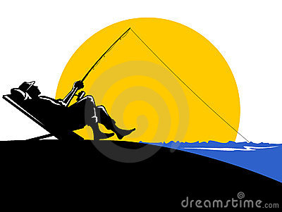 Fisherman fishing sunset