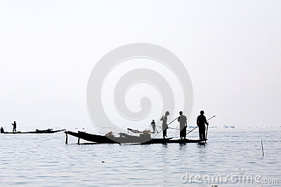 Fishermen at Inle Lake Editorial Photography