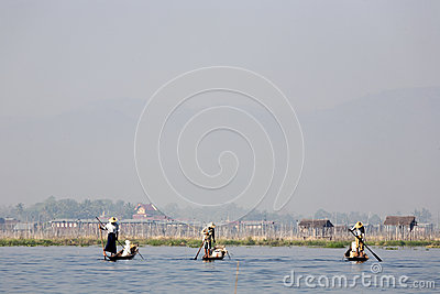 Fishermen at Inle Lake Editorial Stock Image